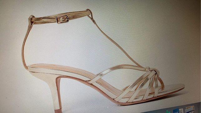 Buty ślubne złote srebrne 38 jak do tańca NOWE z metką