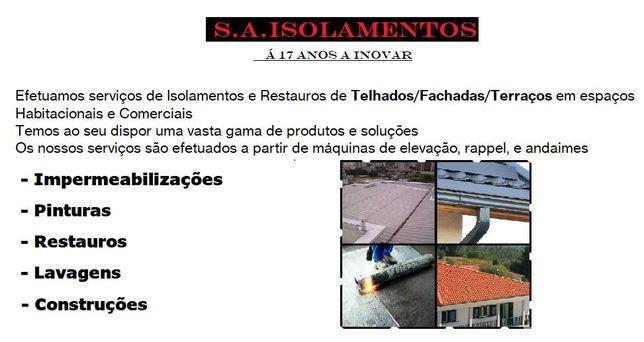 Isolamento, Lavagem, Reparação *Telhados *Fachadas *Terraços