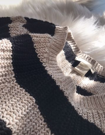 Cieply sweterek, sweter w paski, H&M