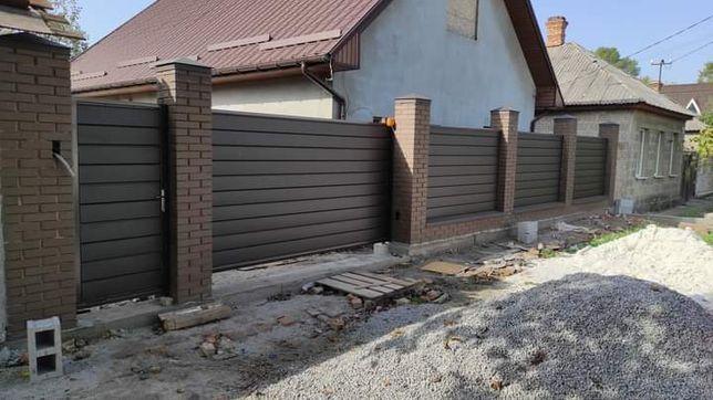 Забор, ворота (автомат), калитки, навес для авто, гараж из профнастила