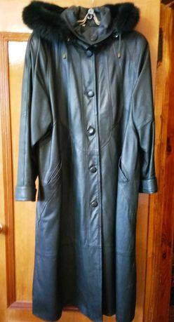 Кожаное женское пальто, размер 54-56