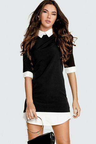 Черное платье рубашка с белыми вставками