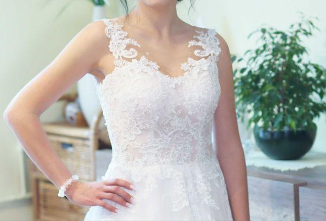 Suknia ślubna S-36 błyszcząca koronka brokatowy tiul