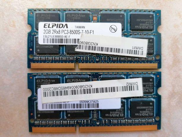 4Gb = 2 x 2GB Elpida 2RX8 PC3-8500S-7-10-F1