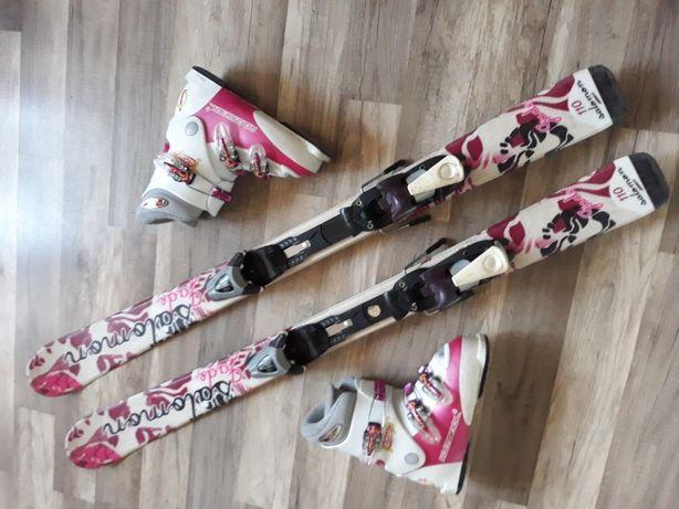 Zestaw narty salomon jade 110 cm oraz buty Rossignol  wkladka 21 5 cm