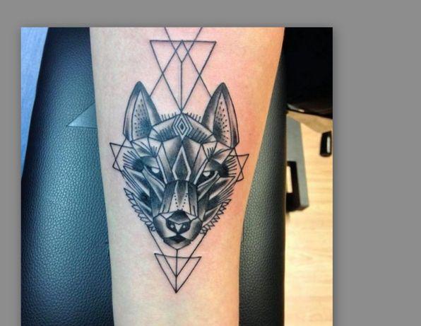 Tatuaż tymczasowy / zmywalny /próbny / --> Geometryczny Wilk/Wolf