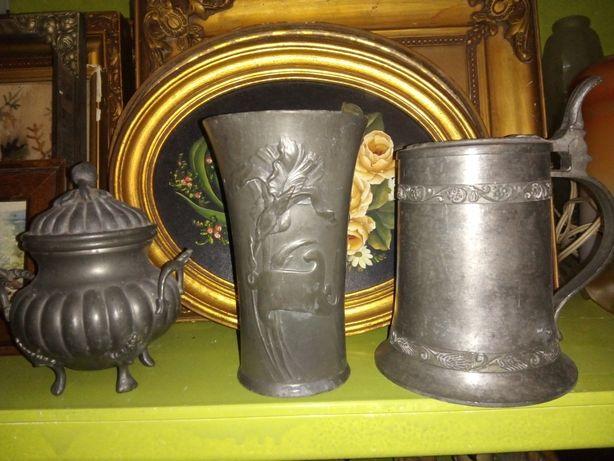 3 lindas antigas peças em estanho-acucareiro-jarra-caneca de cerveja
