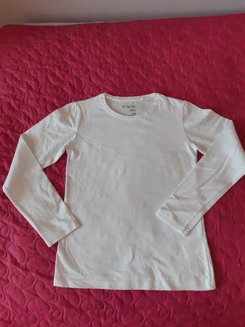 Dziewczęca biała bluzeczka z długim rękawem 140