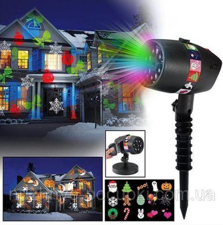 Лазерний проектор вуличний LED SLIDE SHOW 12 картриджів 3 кольори IP6
