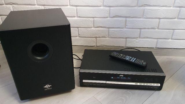 Kino domowe JVC 5.1 (DVD, CD, MP3, USB, IPod) + pilot + głośnik bas
