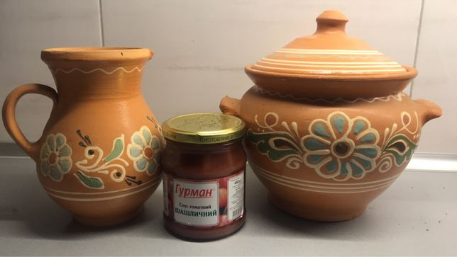 Набор глиняной посуды. Макитра / супница / вареничница, кувшин ( глечи