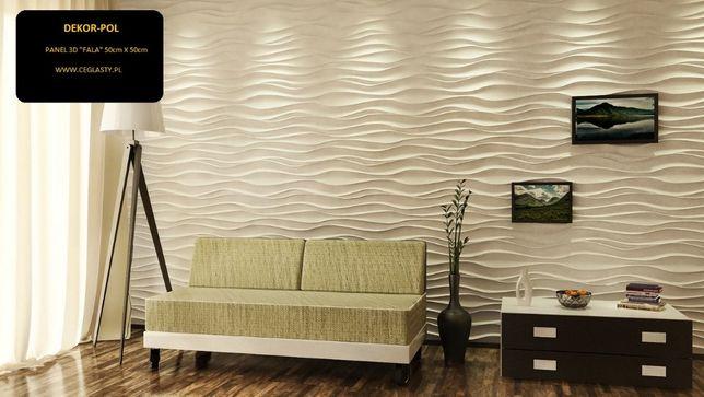"""Panel dekoracyjny KOL 3d """"FALA / WAVE"""" 50 x 50 gipsowy"""