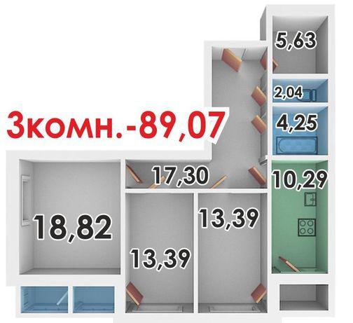 Акция! 3-х комнатную комфортную квартиру с гардеробной в доме МЖК