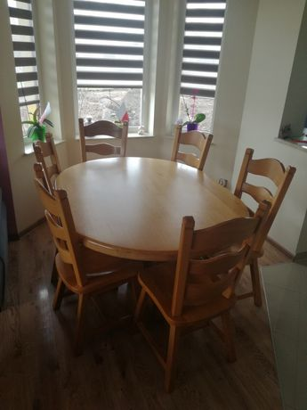 Stół i krzesła 6 szt. Dąb