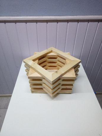 Doniczka drewniana gwiazda
