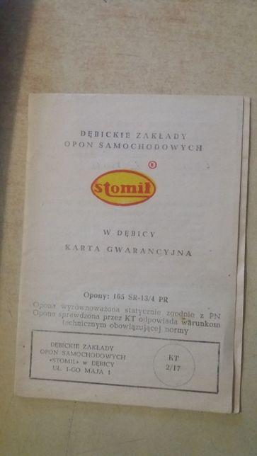 Karta gwarancyjna -Opony Dębica