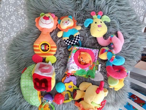 Mega zestaw zabawek grzechotki sensoryczne książeczka Fischer Price