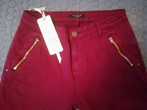 Spodnie jeansy skiny bordo rozmiar 42