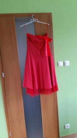 Czerwona sukienka w białe groszki 38/40