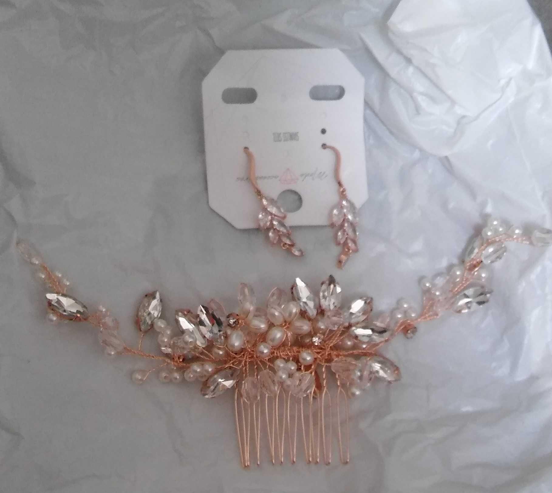 biżuteria ślubna rosegold/różowezłoto ozdoba do włosów/grzebykkolczyki
