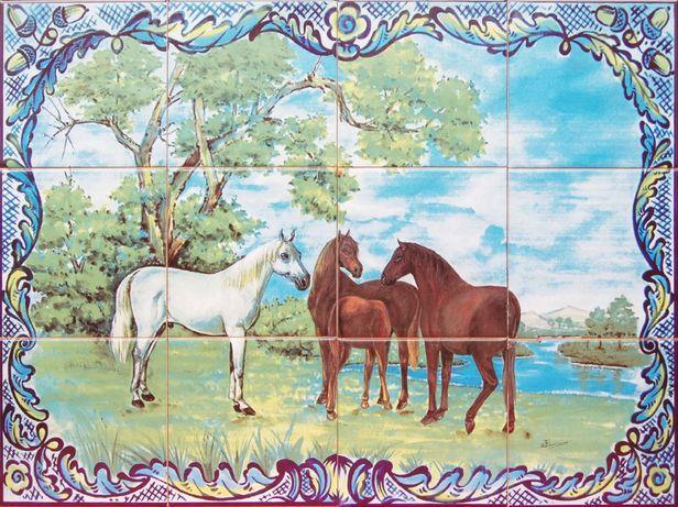 Painel de Azulejos 60x45CM Cavalos Quadro Éguas Imagem Gravura Arte
