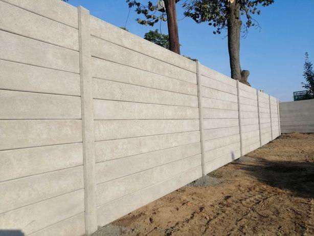 Ogrodzenie betonowe gładkie bez wzoru beton palisada nowoczesne.