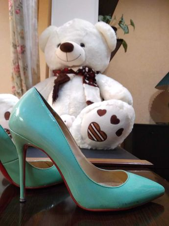 Туфли лаковые бирюзовые