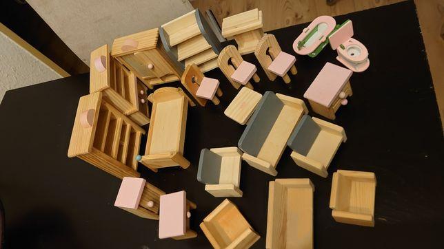 Zabawki drewniane mebelki do lalki do domu lalki