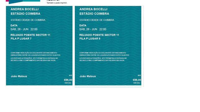 2 Bilhetes, Andrea Bocelli, Sáb 26