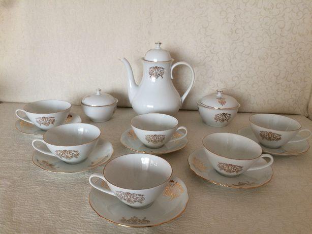 Чайный сервиз костяной фарфор клеймо Bohemia Made in Czechoslovakia