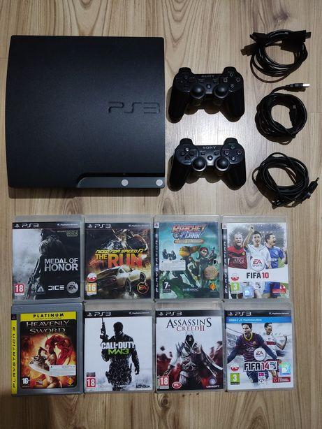 PS3 Slim 500 GB 8GIER + 2 Pady