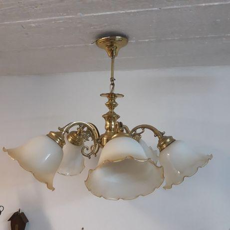 Zabytkowy żyrandol mosiężny 5 ramienny, szklane, ozdobne klosze, lampa