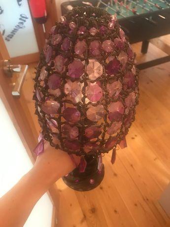 Lampka stołowa/ lampka nocna z fioletowych kryształków
