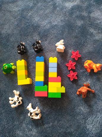LEGO DUPLO klocki,zwierzęta MAŁPA,ŻÓŁW,TYGRYS,kot x2,królik,KROWA x2