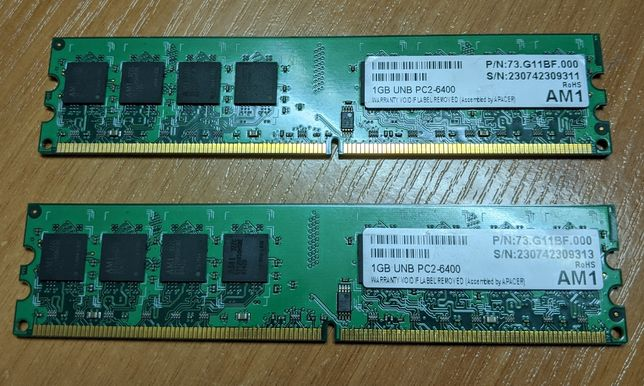 Оперативная память DDR2 PC2-6400 2x1 Gb