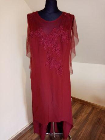 Piękna Suknia sukienka na wesele ślub dłuższy tył Prom duża r.54