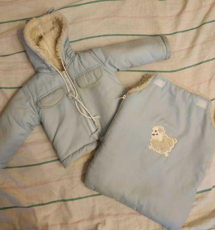 Теплый зимний на овчине конверт куртка с рождения до года