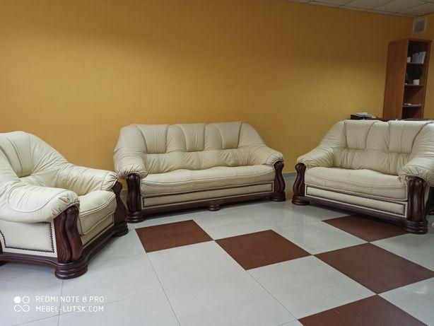 Новый кожаный диван 3ка+2ка+ кресло из Европы. В наличии, есть выбор