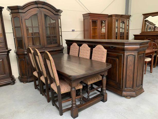 Super dębowy zestaw do salonu 100% drewno komoda witryna stół+6krzeseł