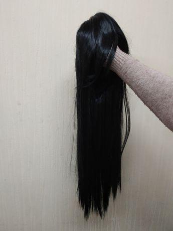Парик черный ровный 70см с косой челкой