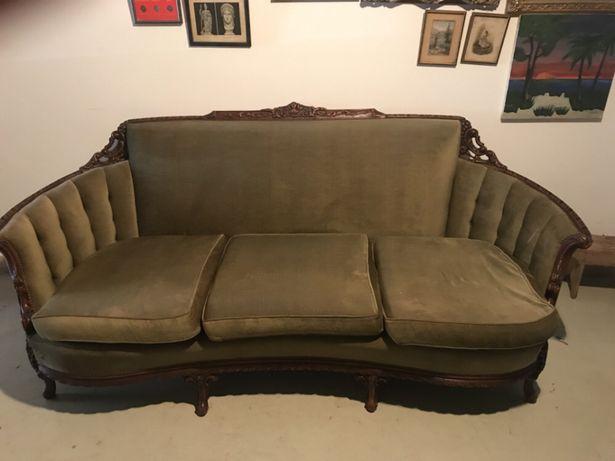 Canapé /Sofá em veludo e madeira
