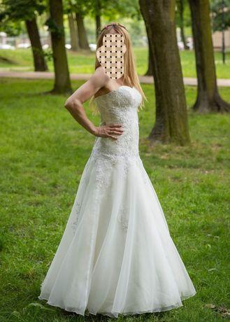 Suknia ślubna syrenka rybka zdobienia, koronki, ozdoby bolerko welon