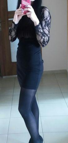Czarna koronkowa sukienka r.36