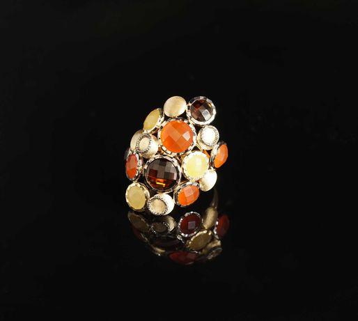 Złoto 585-Złoty pierścionek pierścień damski naturalne kamienie