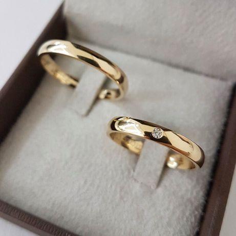Prześliczna Delikatna Para Złotych Obrączek Ślubnych