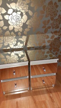 Stolik szafka nocna lustrzany glamour - 2 sztuki