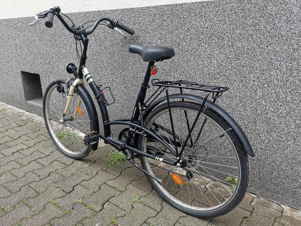 Rower miejski, unisex, czarno-kremowy