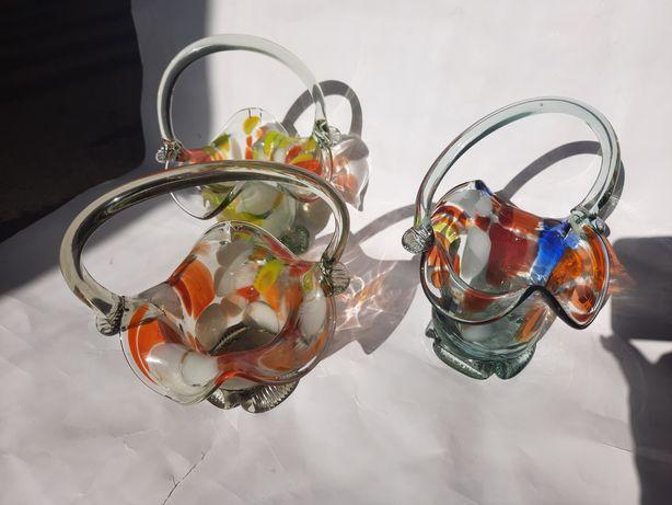 Советские корзинки вазы  из цветного стекла