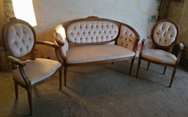 *Śliczny, gustawiański zestaw salonowy sofa, fotele*transport