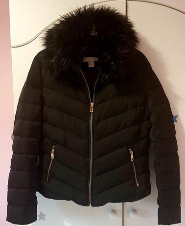Kurtka zimowa  Puchowa damska H&M 38 M futerko czarna
